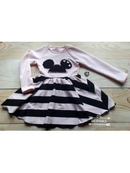 Sukienka MYSZKA różowo- czarna 92-128