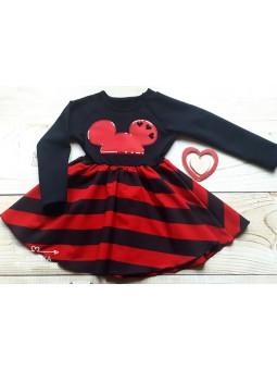Sukienka MYSZKA czerwono-czarna 92-128