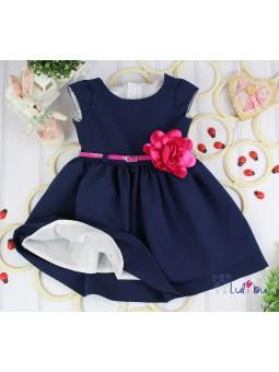 Sukienka wizytowa ROZALKA granatowa z amarantem