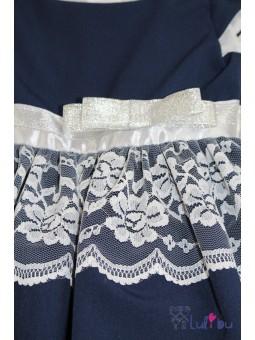Śliczna, granatowa sukienka wizytowa z koronką