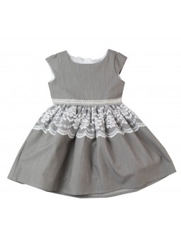 Szara, wizytowa sukienka dla dziewczynki