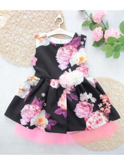 Sukienka wizytowa dla dziewczynki w kwiaty