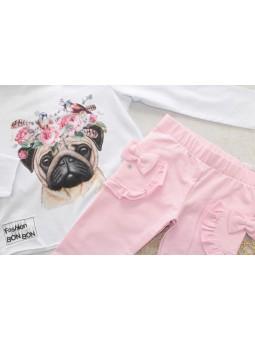 Komplet dla dziewczynki: bluzka i legginsy Bon Bon